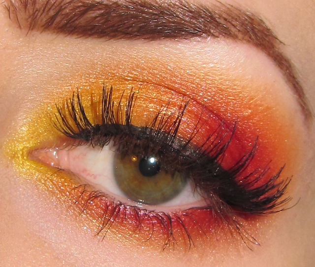 Glitter is my Crack: Fiery Sunset Eye Makeup Look + Picture Tutorial