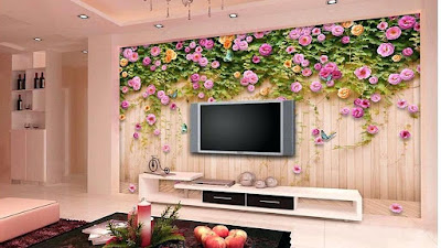 An image of beautiful flower themed wallpaper in the living room