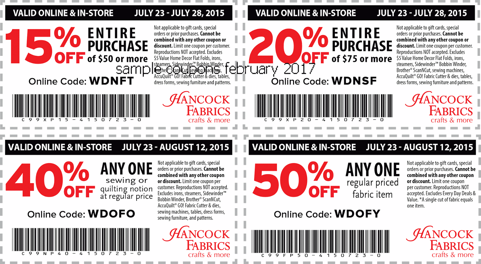 fabrics and papers discount code The bulk discount applies only to full yards of fabric (not fat quarters, swatches or other items) and cannot combine with fabric discounts or promotions other than the everyday designer discount pro exclusive grand format fabrics are not eligible for bulk discounts.