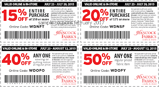 Hancock Fabrics coupons february 2017