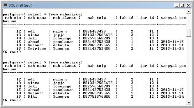 Kelas Informatika - SQL Shell PostgreSQL Update Data Mahasiswa Metode Prepared Statement