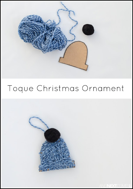 Easy yarn wrapped toque Christmas ornament craft for kids from And Next Comes L