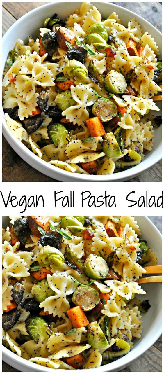 Vegan Fall Pasta Salad #vegan #pasta #pastarecipes #salad #saladrecipes #dinner #dinnerideas #dinnerrecipes #easydinnerrecipes