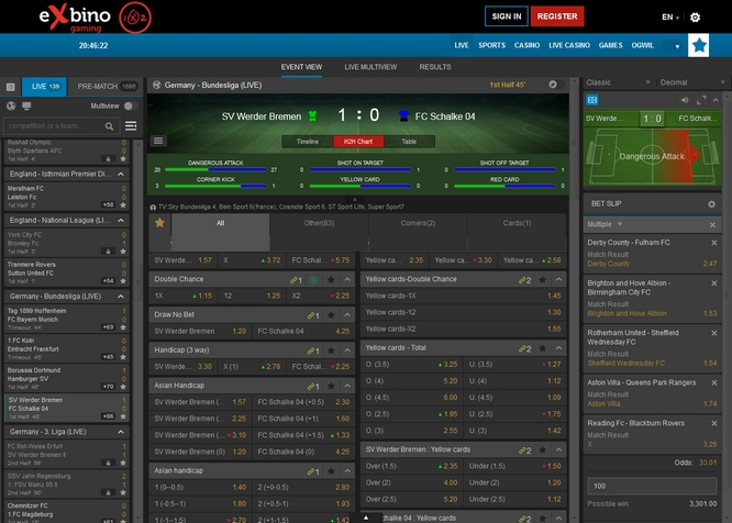 Exbinog Live Betting Screen