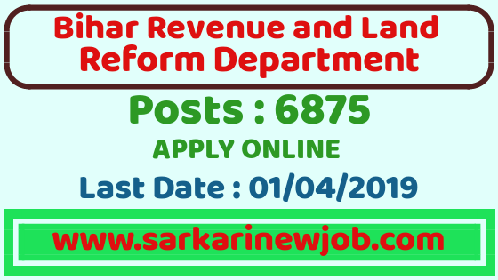 Bihar Revenue And Land Reform Department Vacancy | Bihar Government Jobs 2019| 6875 Posts