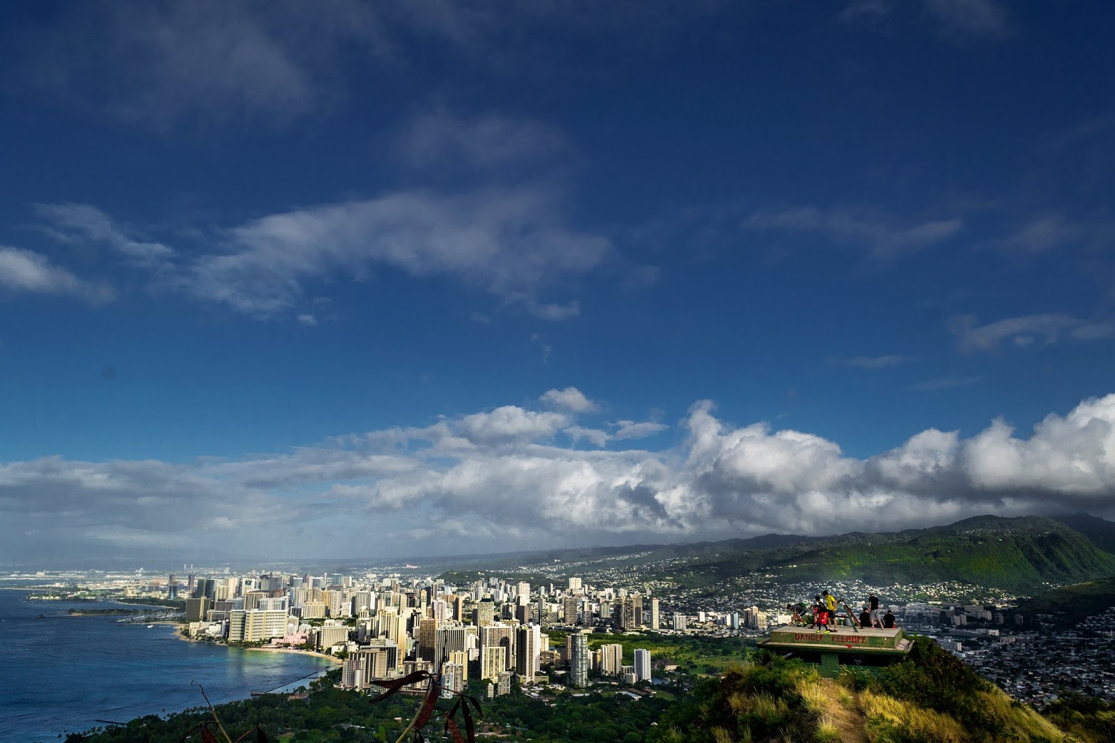 View of Waikiki from Diamond Head Crater Hike in Hawaii
