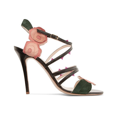 Camilla Elphick Comin Roses Embroidered Suede and Leather Sandals