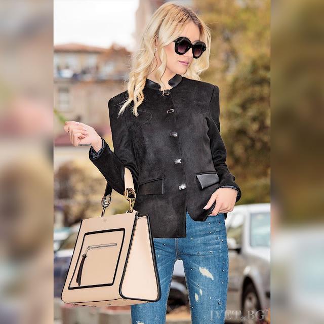 Μοντέρνο γυναικείο  μαύρο σακάκι DEIZY BLACK