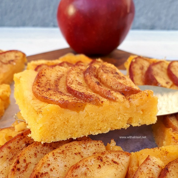 Cake bottom, creamy Custard filling and caramelized apple topping baked all at once
