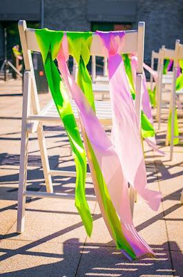 wedding green pink ribbon