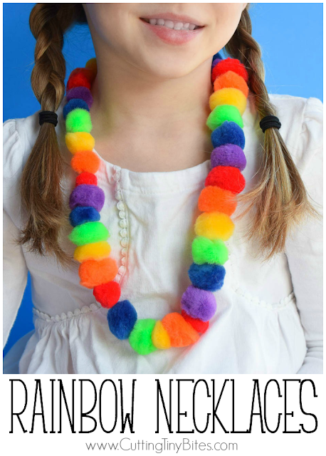 Rainbow Pompom Necklace Craft- fun activity for kids for spring, St. Patrick's Day, or a weather theme. Great for developing fine motor skills!