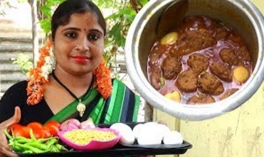 Village Foods- Amazing Traditional Minapa Garelu (Vada) Recipe W/ Boiled Eggs- South Indian Cooking