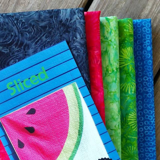 Sliced watermelon quilt using Island Batik fabrics