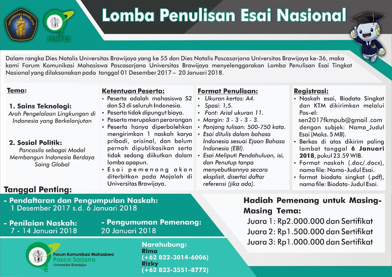 Lomba Penulisan Esai Nasional 2018 Untuk Mahasiswa Pascasarjana | Univ. Brawijaya | Deadline 6 Januari 2018