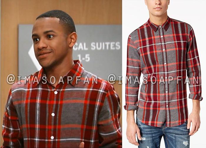 TJ Ashford, Tequan Richmond, Red and Grey Plaid Shirt, General Hospital, GH