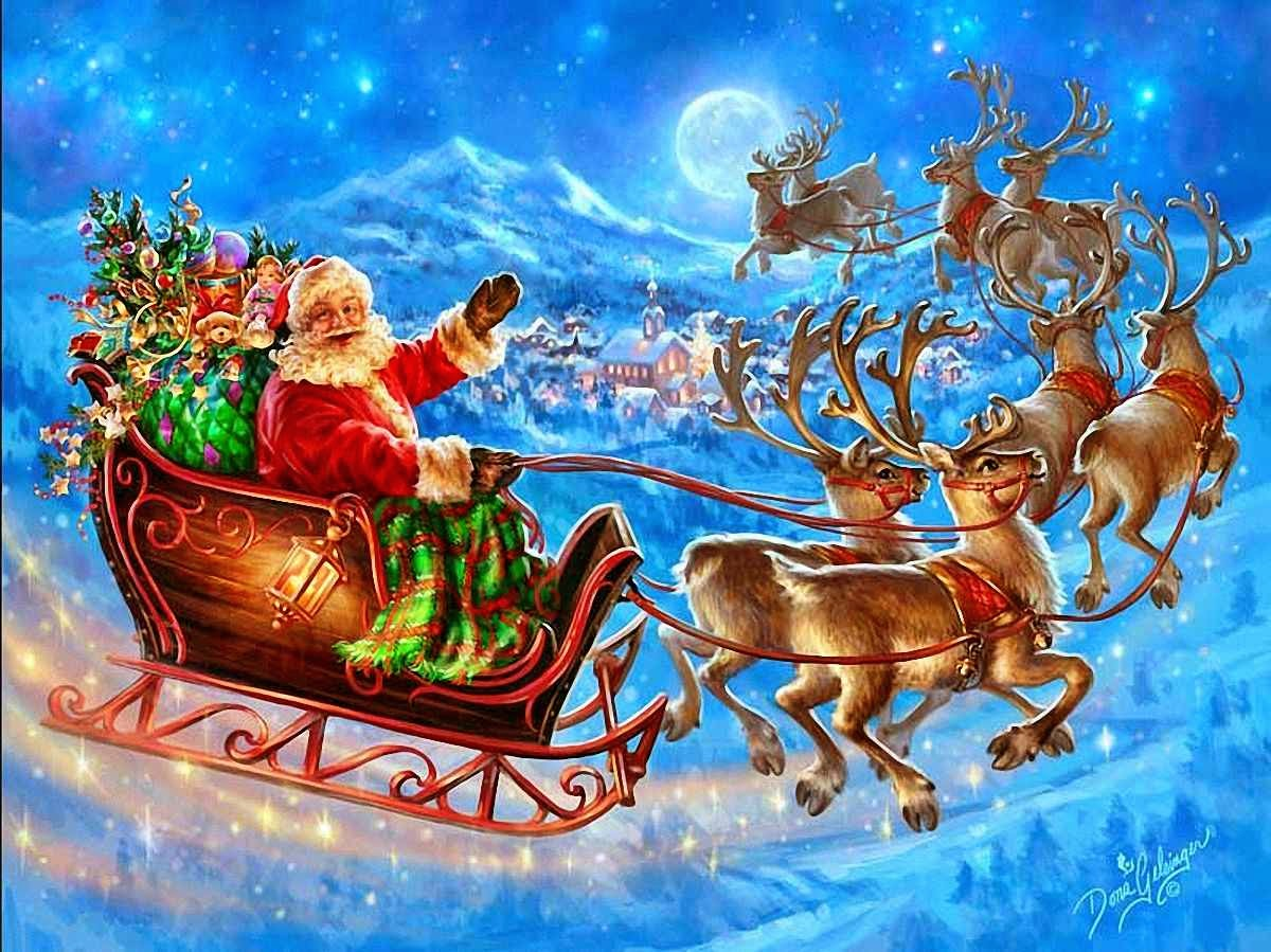Santa Claus coming to town riding his reindeer sleigh ...