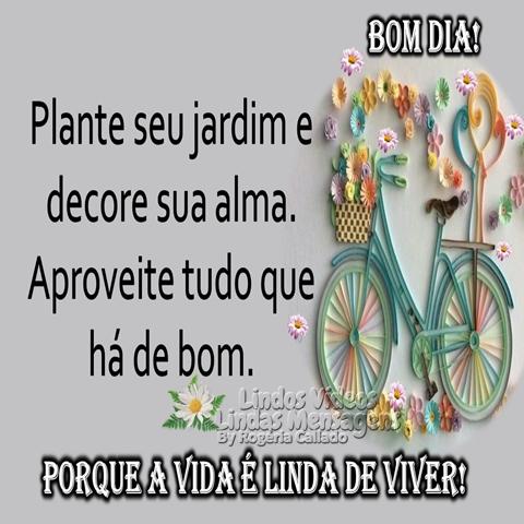 Plante seu jardim e  decore sua alma.  Aproveite tudo que  há de bom.  PORQUE A VIDA É LINDA DE VIVER!  Bom Dia!!!