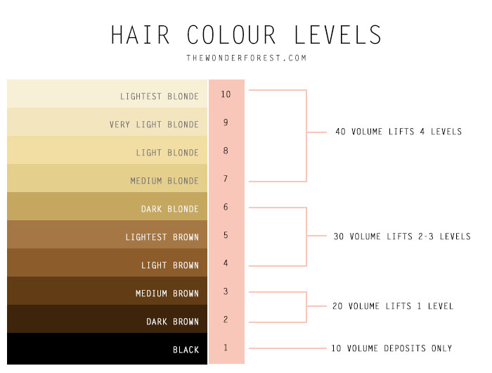 Hair color developer levels