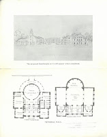 A single sheet with an artist's rendering of the quadrangle on the top half of the page and a layout of the Webster Hall first and second floor on the bottom half.
