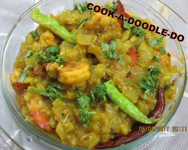 Lau Chingri or Bottle gourd with shrimps , a Bengali recipe