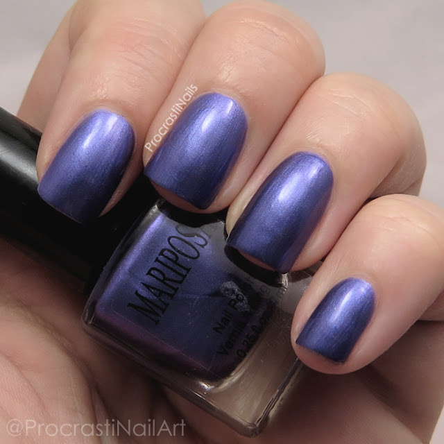 Swatch of Dollarama Mariposa Purple Frosted Nail Polish