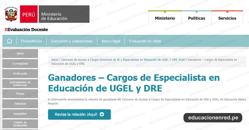 MINEDU publicó Lista de Ganadores a Cargos de Especialista en Educación de UGEL y DRE (29 Noviembre) www.minedu.gob.pe