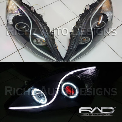 custom angel eyes + devil eyes + drl line + smoke headlamp crv 2010