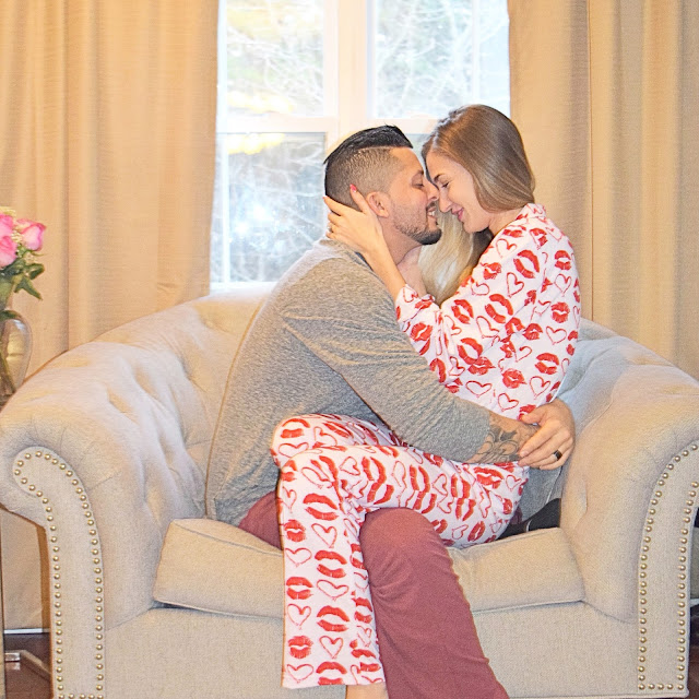 his and her's valentine pajamas, married couple. heart pajamas, valentines day pajamas