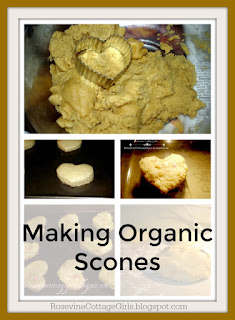 photo of a collage of the scone recipe with dough, a cookie cutter and scone on baking tray | text says making organic scones Scone Recipe, scones, Making scones, Making Organic Scones, Making Healthy Scones, Tea and Scones, by Rosevine Cottage Girls