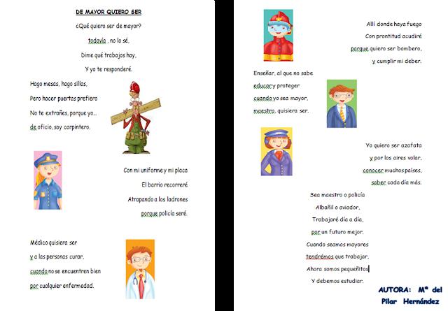 Resultado de imagen de poesia profesiones para niños