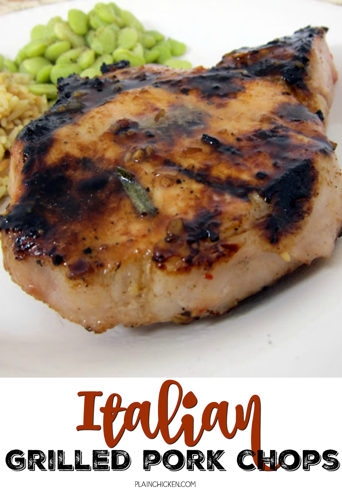 Italian Grilled Pork Chops - pork chops marinated in Italian dressing, balsamic vinegar, Worcestershire, honey and rosemary. Can mix together the night before and they are ready to grill when you get home from work. SO easy and super delicious!