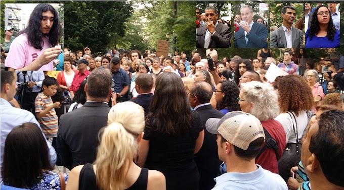 Líderes dominicanos y funcionarios encabezan  vigilia en el Alto Manhattan  contra violencia de odio en Virginia