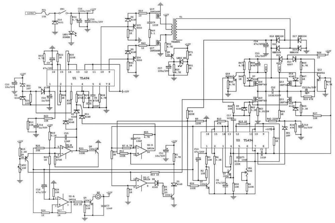 инвертор с 50 вольт схема