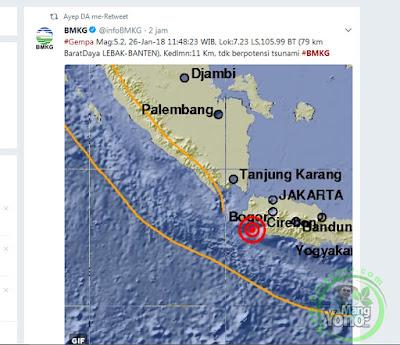 BMKG menyebut pusat gempa di Lebak itu terjadi pada pukul 11.48 WIB.
