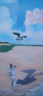 kunst,art,maleri,humor,farver,glad,skygge, hund,måge,strand, hav,