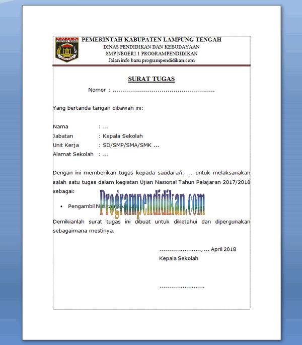 surat tugas pengambilan naskah soal un