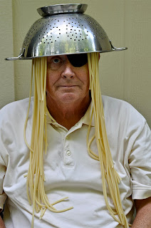 Funny atheist colander hat picture