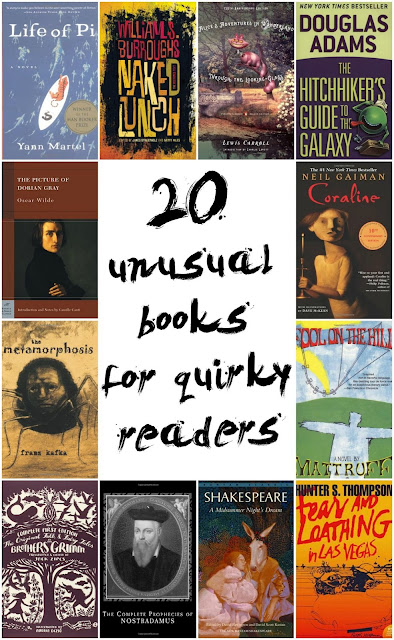 Unusual Books for Quirky Readers. Weird books. Unusual novels. Alternative reading. Weird novels. Bizarre books. Books for weirdos. Weird book list. Strange books to read. best strange books strange books to read weird books that make you think unusual non fiction books good weird books weird books on amazon Best weird novels
