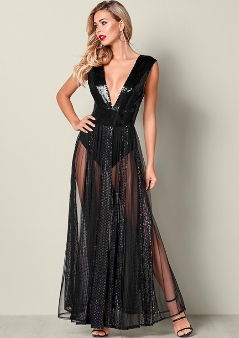 Sequin Plunge Sheer Gown