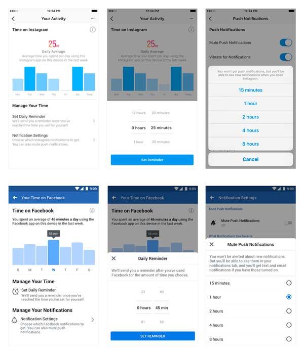 Administrar tiempo en Facebook e Instagram