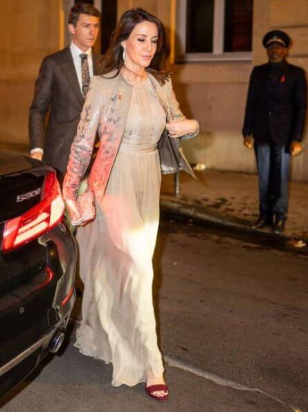 Princess Marie wore a gown by Ole Yde, Princess Madeleine's wedding. Christine Hvelplund diamond earrings, Michael Kors suede sandal