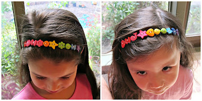 headband rainbow button tutorial diy