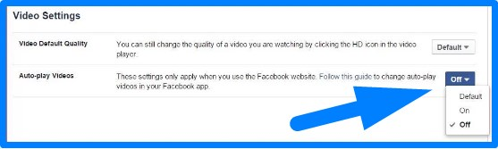 turn off auto play video facebook app