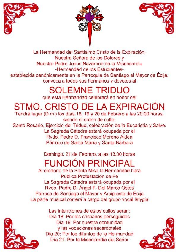 Pasión y Glorias de Écija: Mañana empieza el Solemne Triduo de la ...