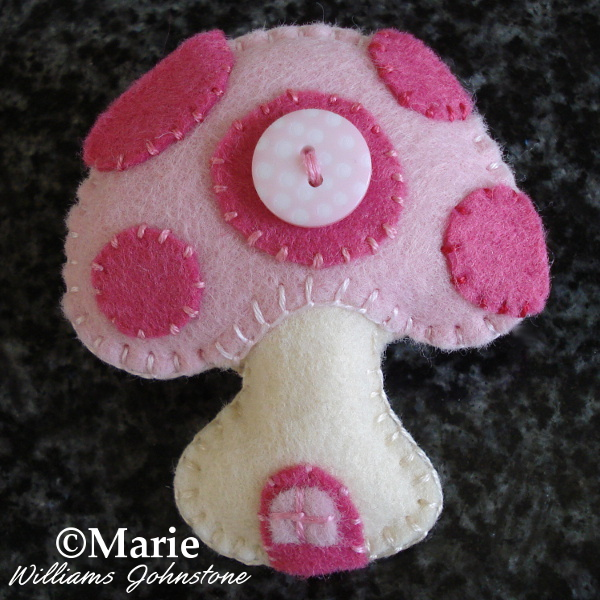 Finished pink mushroom toadstool felt plush pin brooch design ornament hand sewn craft tutorial