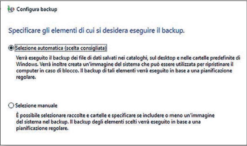 scelta modalità backup di windows 10 tra manuale e automatico