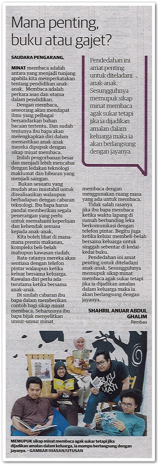 Mana penting, buku atau gajet? - Keratan akhbar Utusan Malaysia 5 Mac 2019
