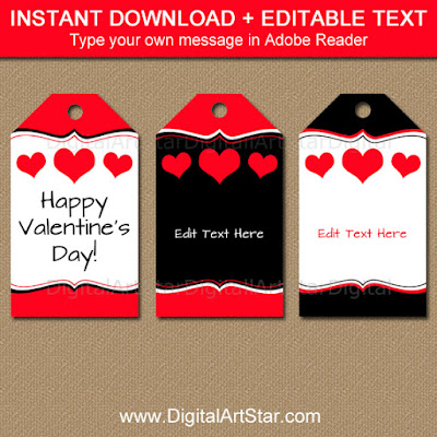 valentine's day tags - instant download - black and red