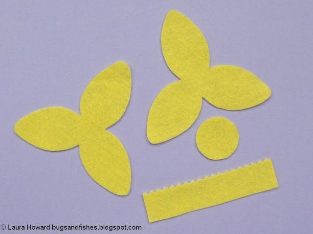 pieces for making a felt daffodil