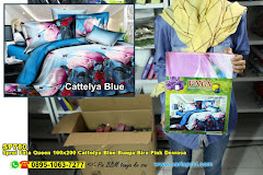 Sprei Fata Queen 160×200 Cattelya Blue Bunga Biru Pink Dewasa